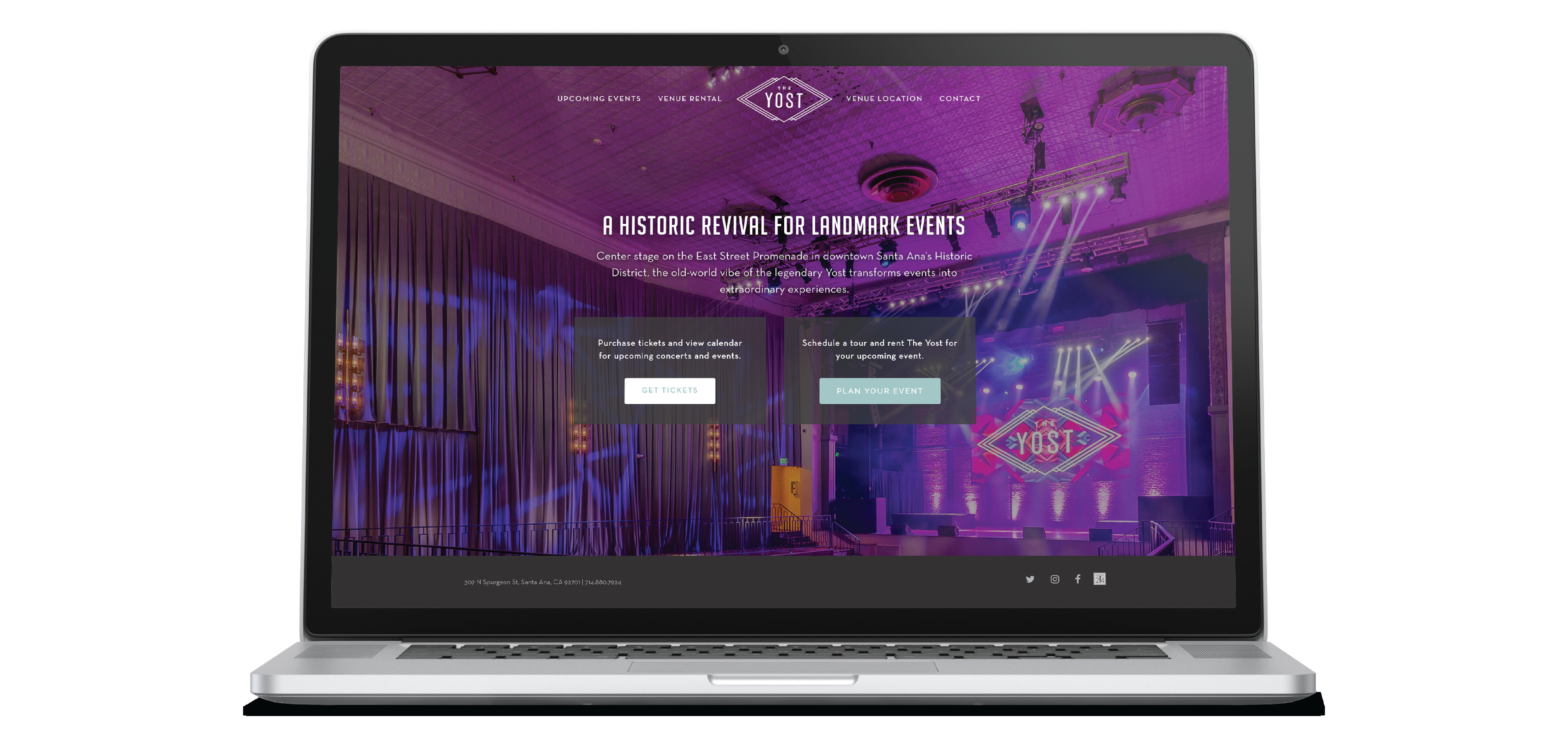 The Yost venue website design