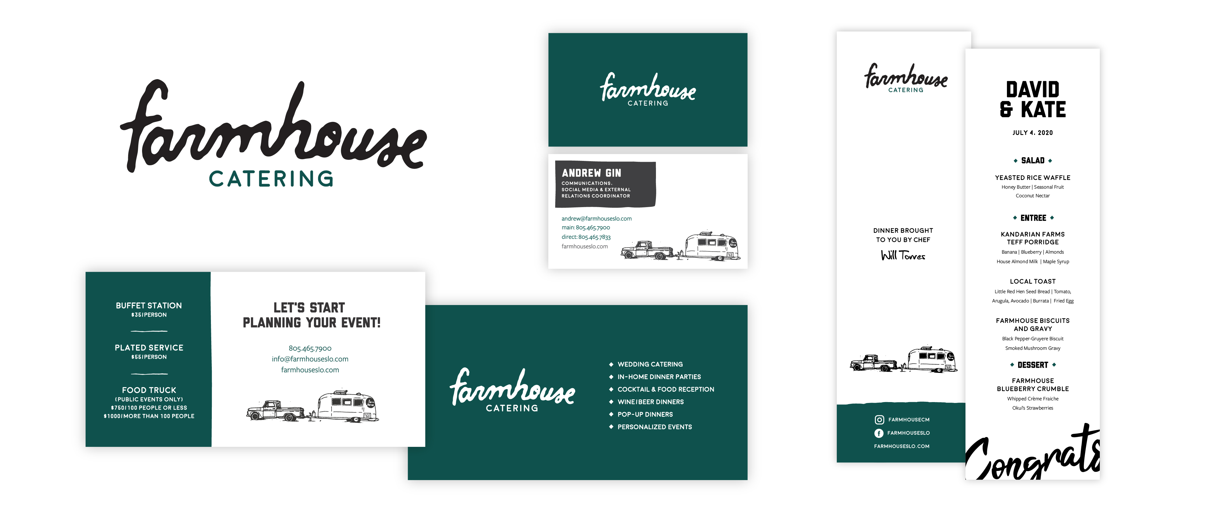 catering brand print pieces