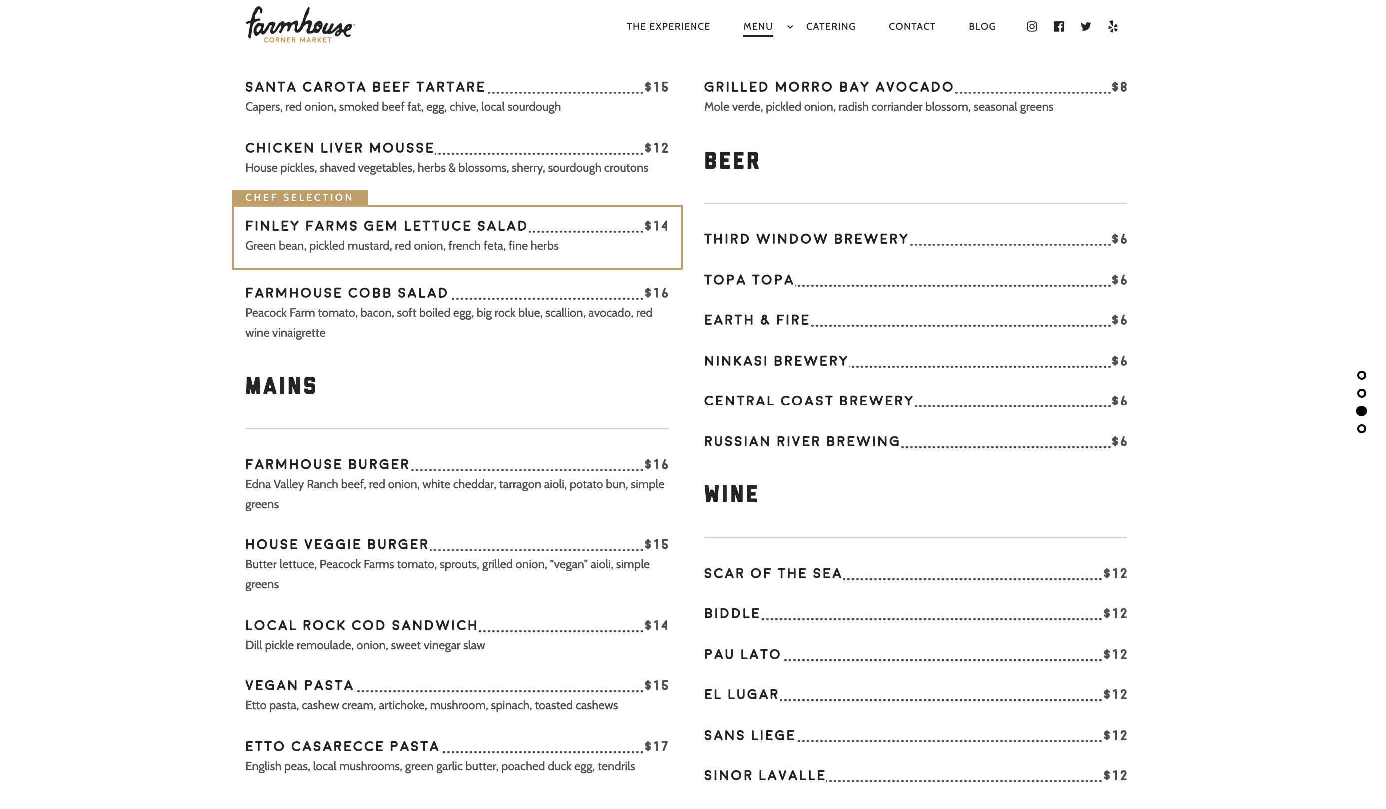 Farmhouse menu design