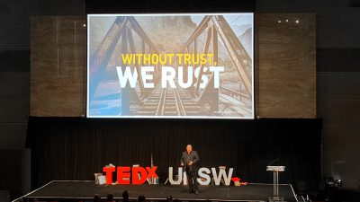 """Slidemaster at Sydney Tedx – """"Without trust we rust"""" by Ian Eliott"""
