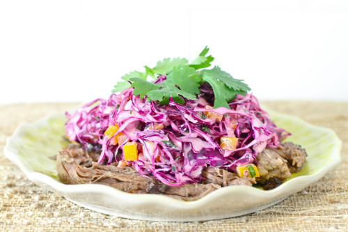 Red Cabbage Slaw & Shredded Beef