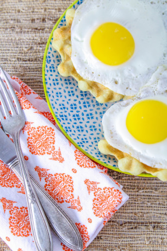 Gluten Free Dairy Free Waffles Topped with Eggs