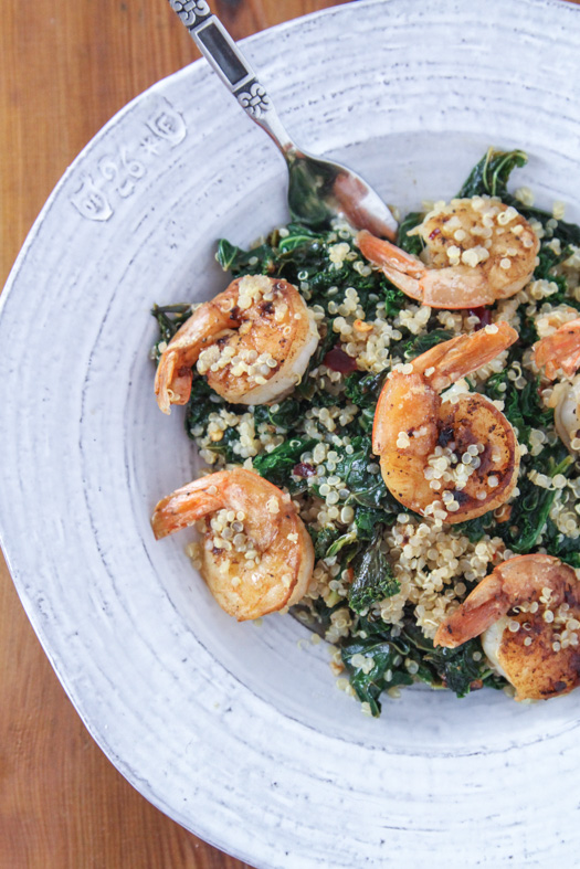Lemon & Crushed Red Pepper Kale with Shrimp and Quinoa