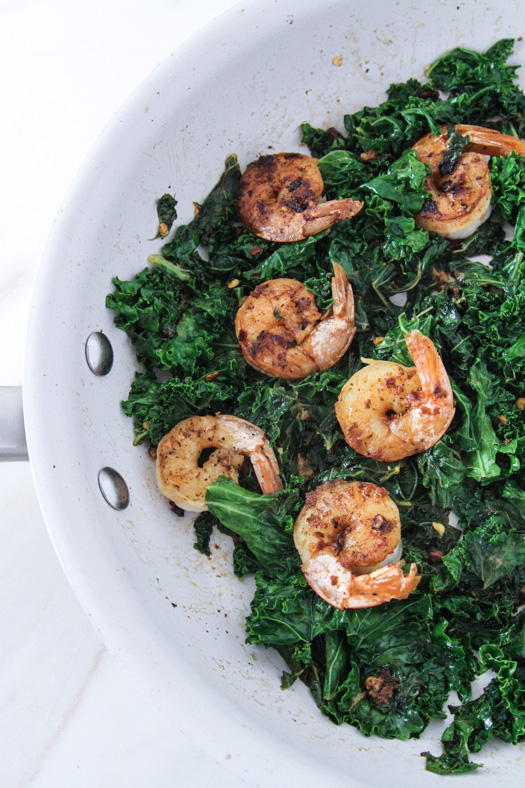 Sauteed Shrimp and Kale