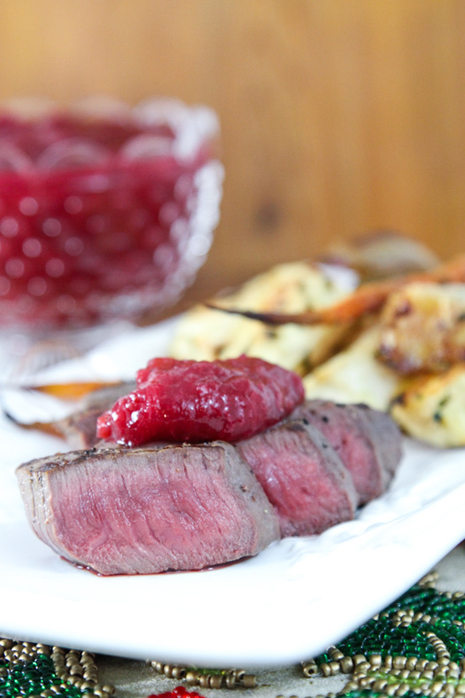 Grilled Venison with Cranberry Rhubarb Sauce
