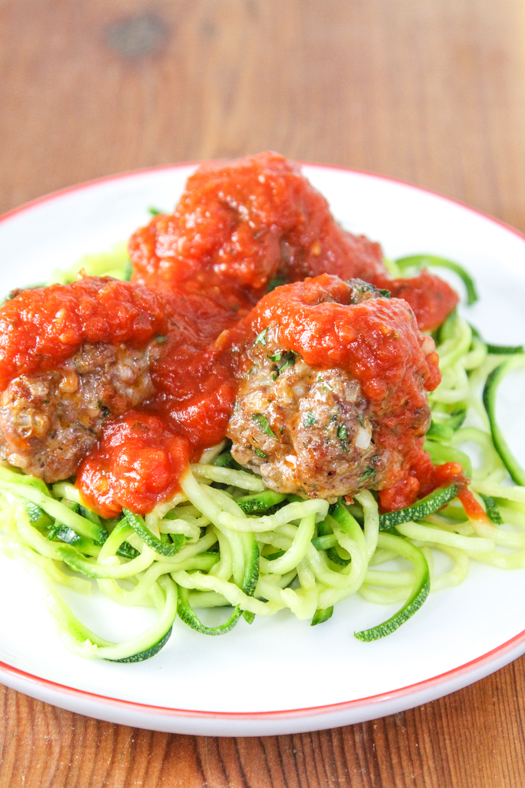 Italian Sausage Meatballs with Zoodles