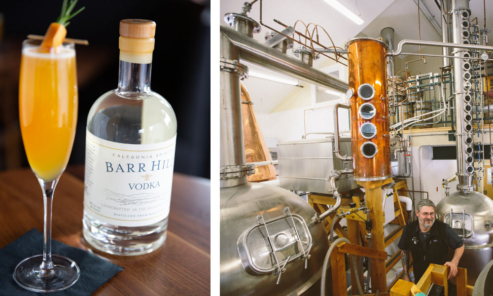 Barr Hill Walk on Water cocktail; Scott Emery and our 16 plate column still inside the Hardwick distillery
