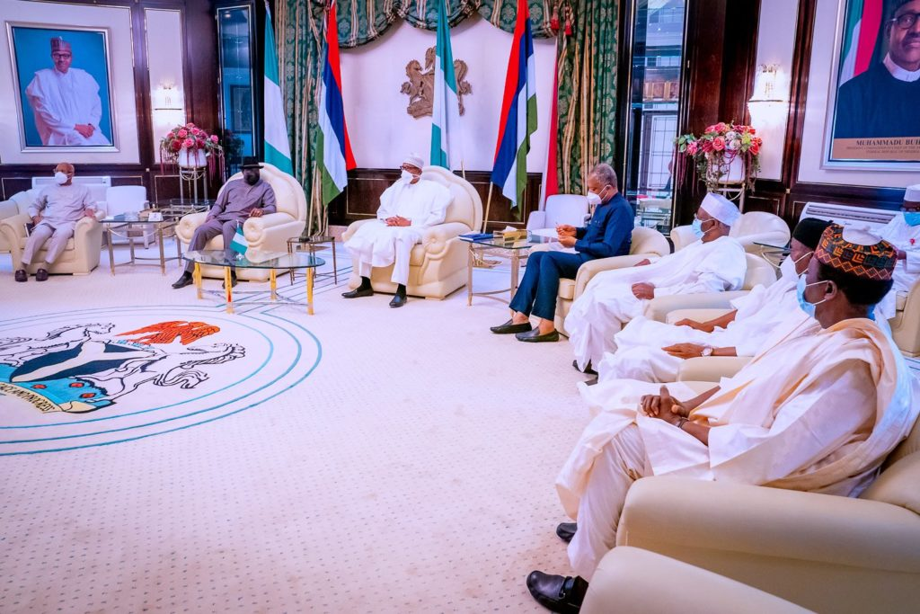 President Muhammadu Buhari meets with former President Goodluck Jonathan in Aso Rock over political crisis in Mali