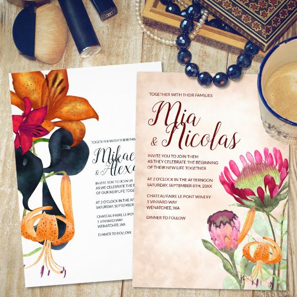 wedding-invitations-elegant-vintage-modern-blue-gold-fall-calla-lilies-protea-flowers-template