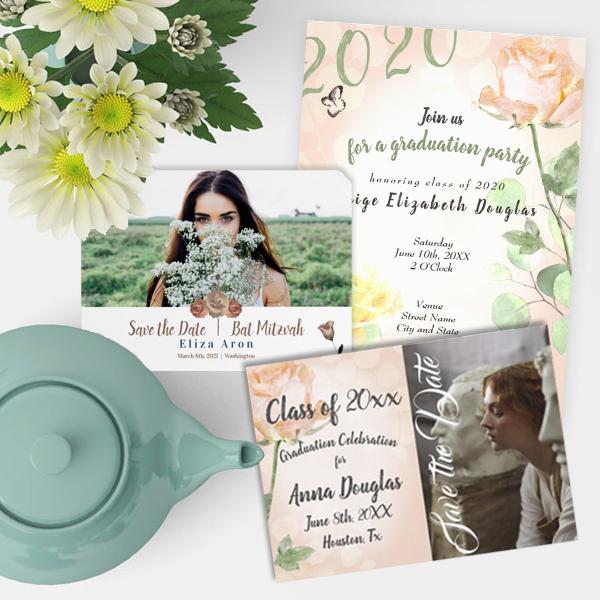 2021-graduation-party-invitations-pink-roses-vintage-modern-trendy-unique