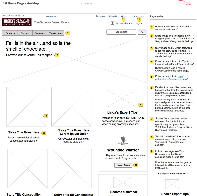 desktop version of Hershey's kitchens website