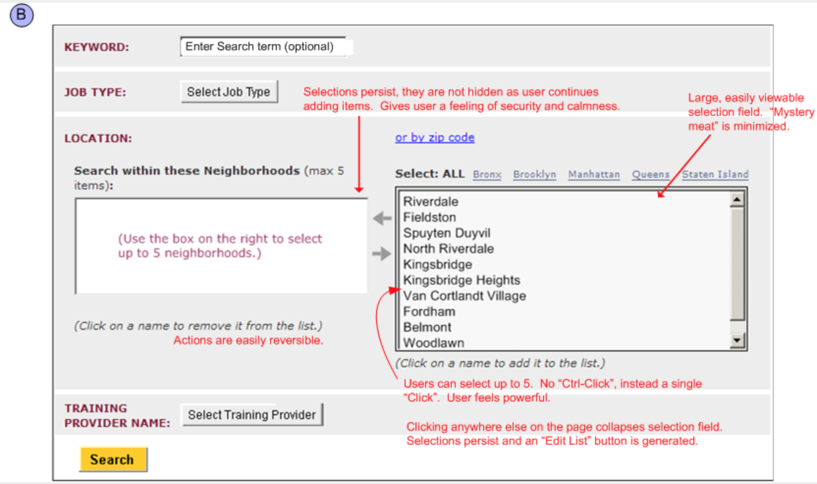 close up of full redesigned school selector form with comments