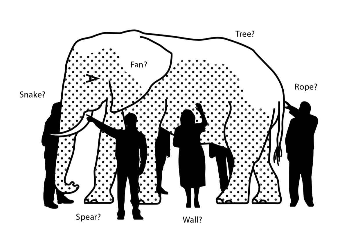 Cartoon image of multiple presumably blind people touching an elephant, with each saying what they think it is based on touch. E.g. the person at the tail thinks it's a rope. The person at the side thinks it's a wall.