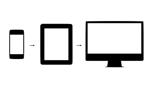 silhouettes of screens, from left to right: smartphone, tablet, desktop