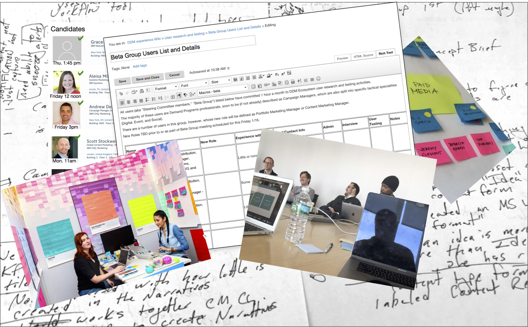 collage of user-testing-related photos, notes, forms, and schedules