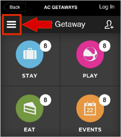 AC Getaway main trip page with an overlay of a red box with an arrow pointing to the