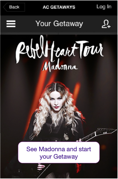 AC Getaway mobile splash screen showing a Madonna tour poster and a button that says