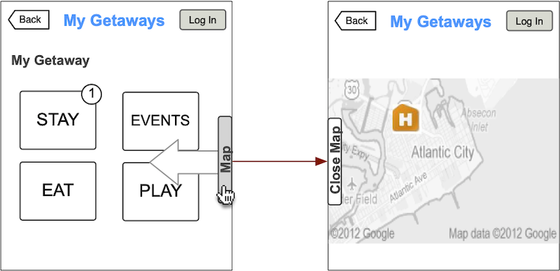 AC Getaway planner wireframe of the