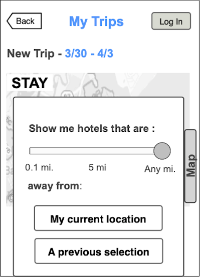 AC Getaway Planner mobile wireframe screen of the top part of hotel search results, showing a slider filter enabling the user to select a distance from 0.1 miles to