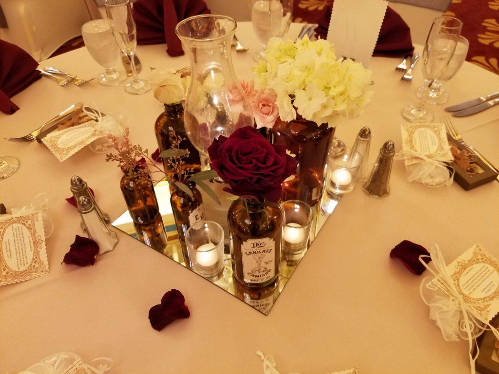 Blush Satin Tablecloth w/ Burgundy Napkins