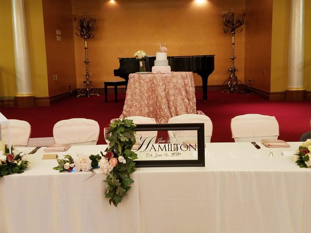 Blush Rosette Cake Tablecloth with Blush Satin Sashes and Napkins