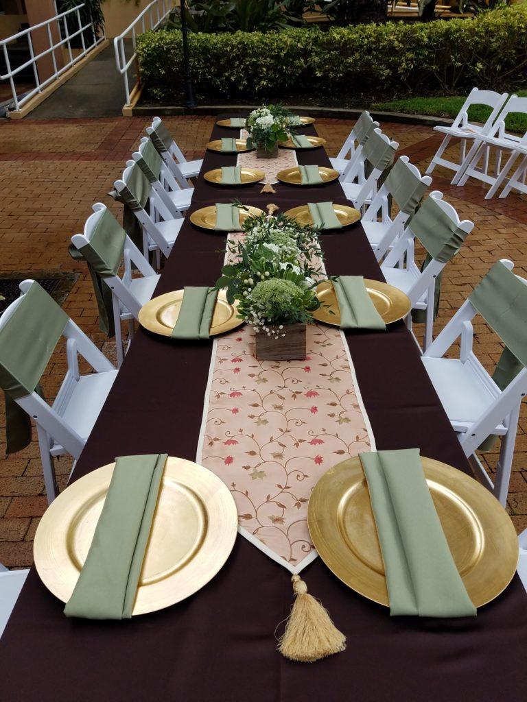 Eggplant Satin Tablecloth with Sage Napkins and Sashes