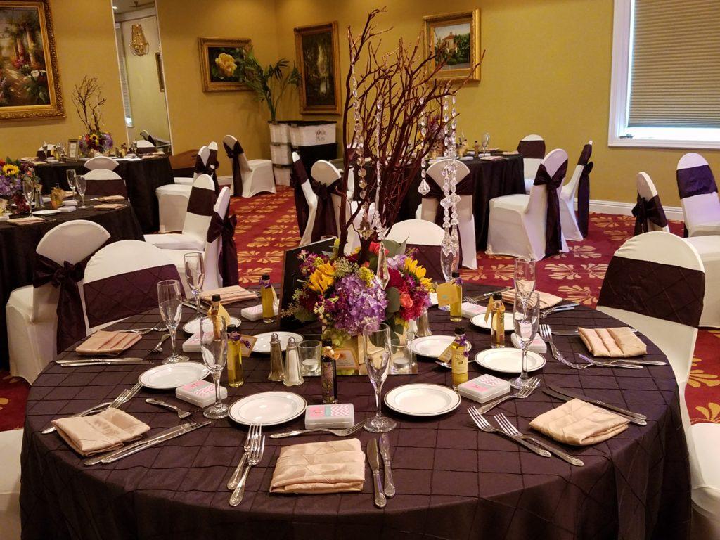 Eggplant Pintuck Tablecloths and Sashes with Blush Pintuck Napkins