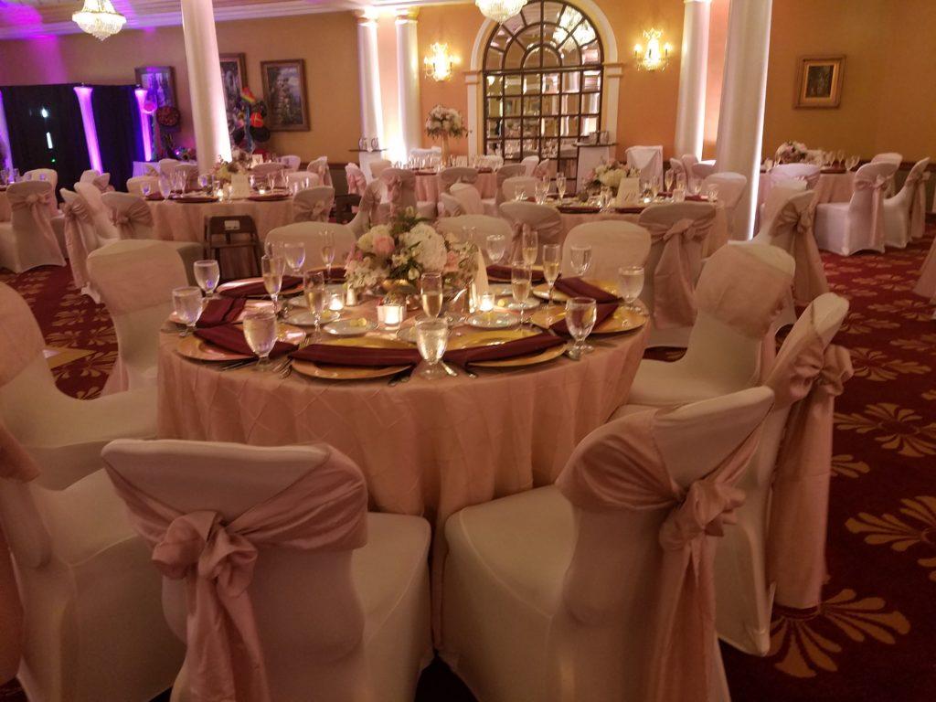 Blush Crush Sashes w/ Blush Pintuck Tablecloths and Burgundy Napkins