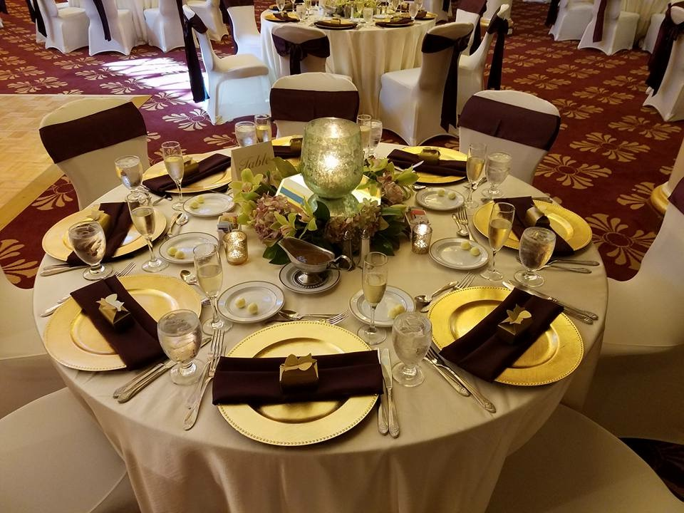 Burgundy Satin Sashes and Ivory Majestic Tablecloth with Burgundy Napkins