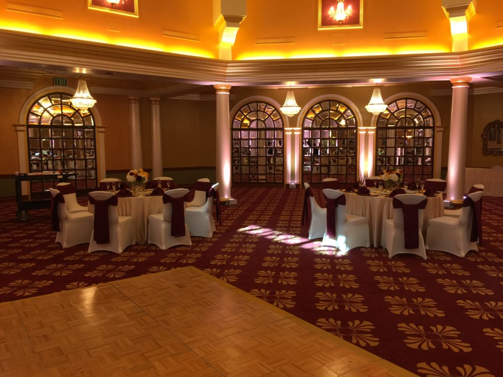 Burgundy Satin Sashes and Napkins with Champagne Majestic Tablecloths