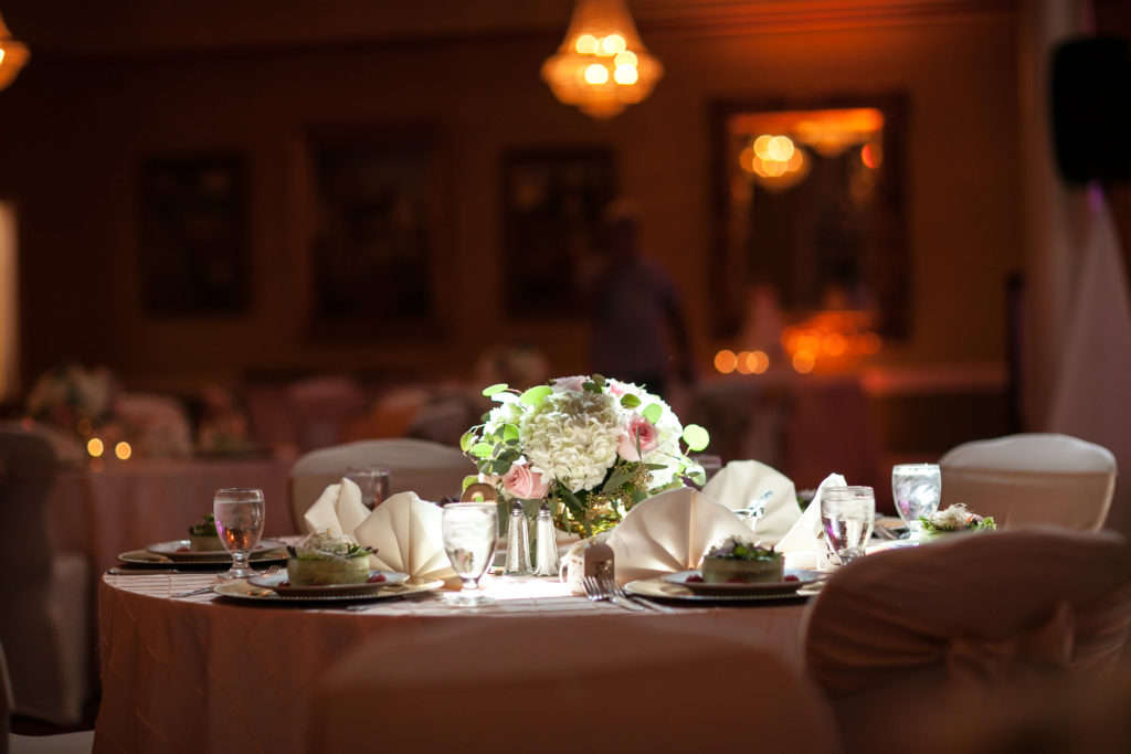 Lilac Majestic Tablecloths with Yellow Crush Sashes and Napkins