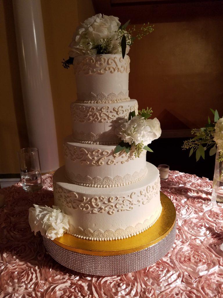 Blush Rosette Cake Tablecloth