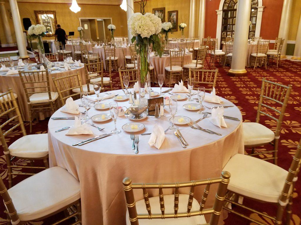 Blush Satin Tablecloths and White Satin Napkins