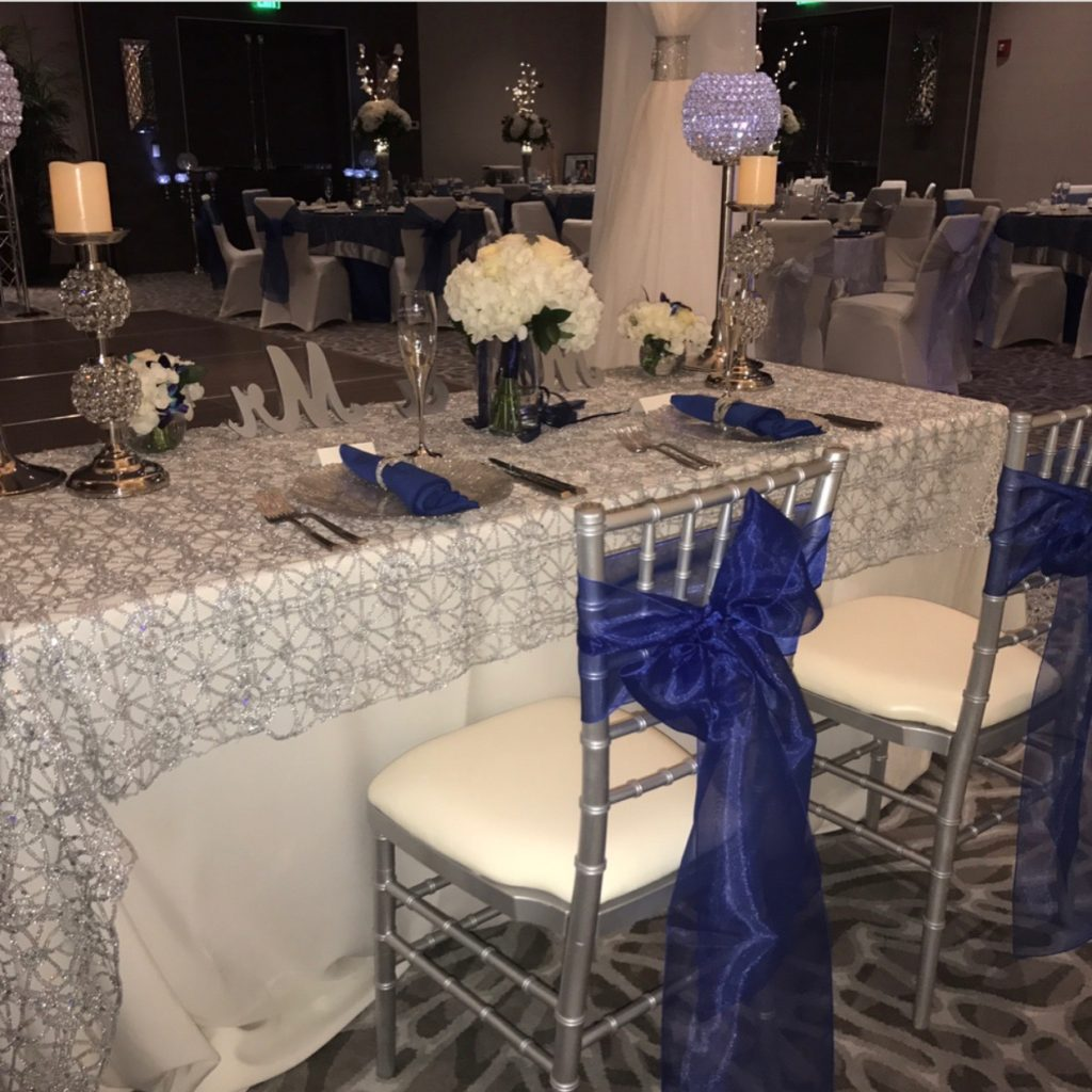 Royal Blue Organza sash with Silver Overlay