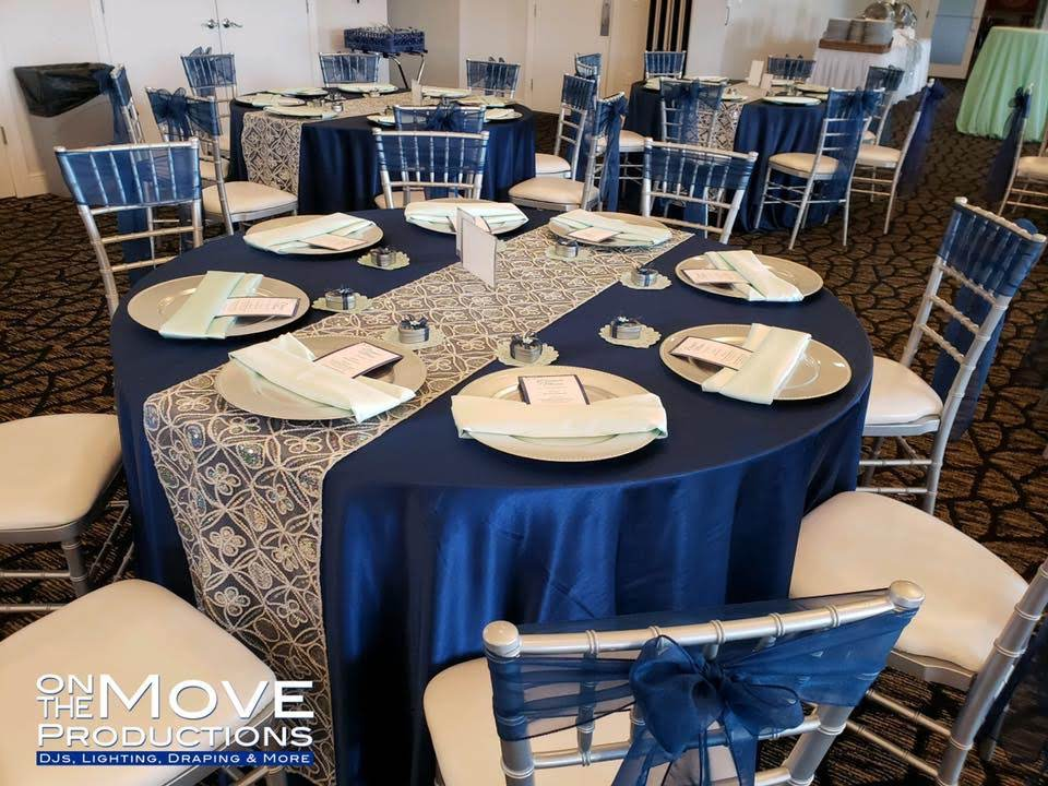 Navy Blue Majestic Tablecloths, Navy Blue Organza Sashes and Kaleidoscope Runners