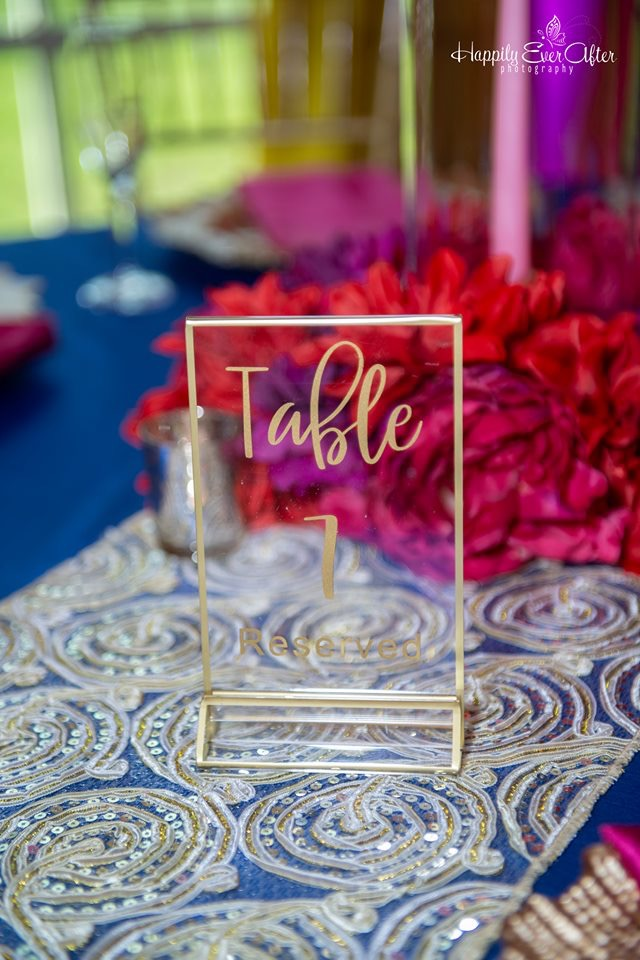 Gold Ribber Runner w/ Royal Blue Majestic Tablecloths