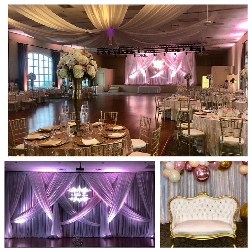 Blush Baby Rose Overlays with Ivory Poly Tablecloths and White Satin Napkins