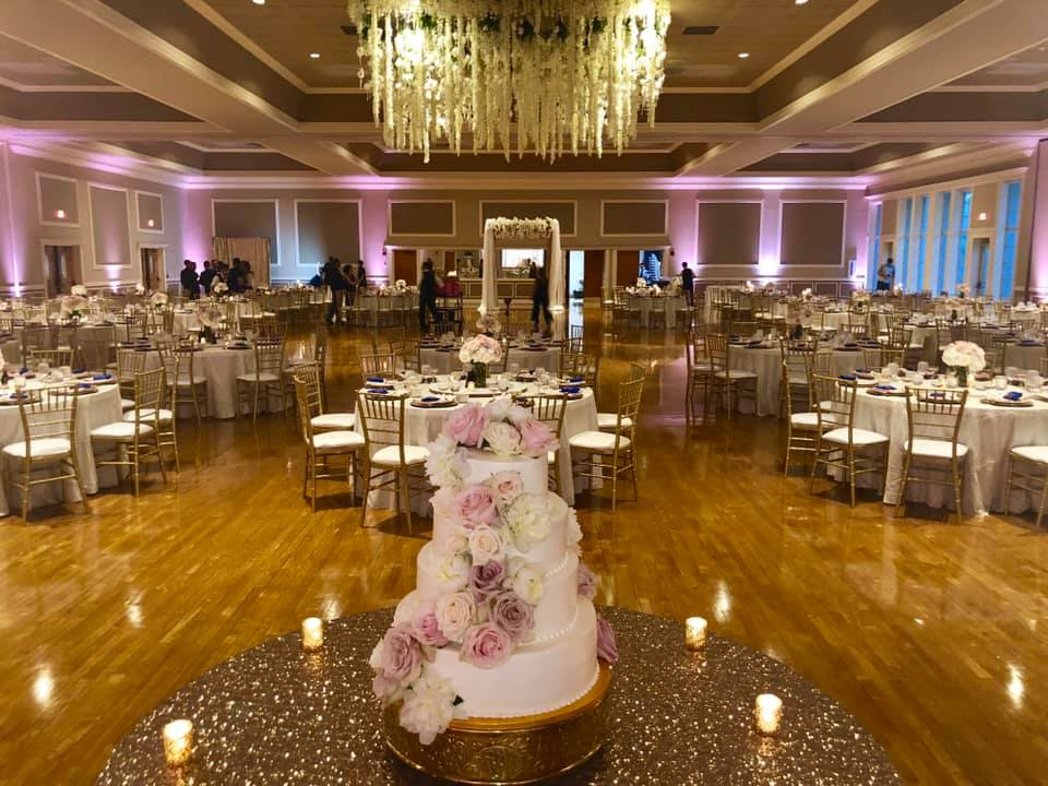 Ivory Taffeta Tablecloths with Blush Satin Napkins and Gold Sequin Tablecloth