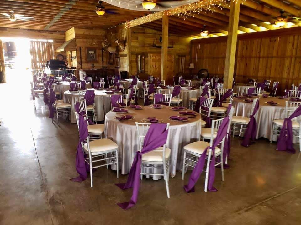 Purple Poly Sashes w/ Silver Majestic Tablecloths and Purple Majestic Napkins