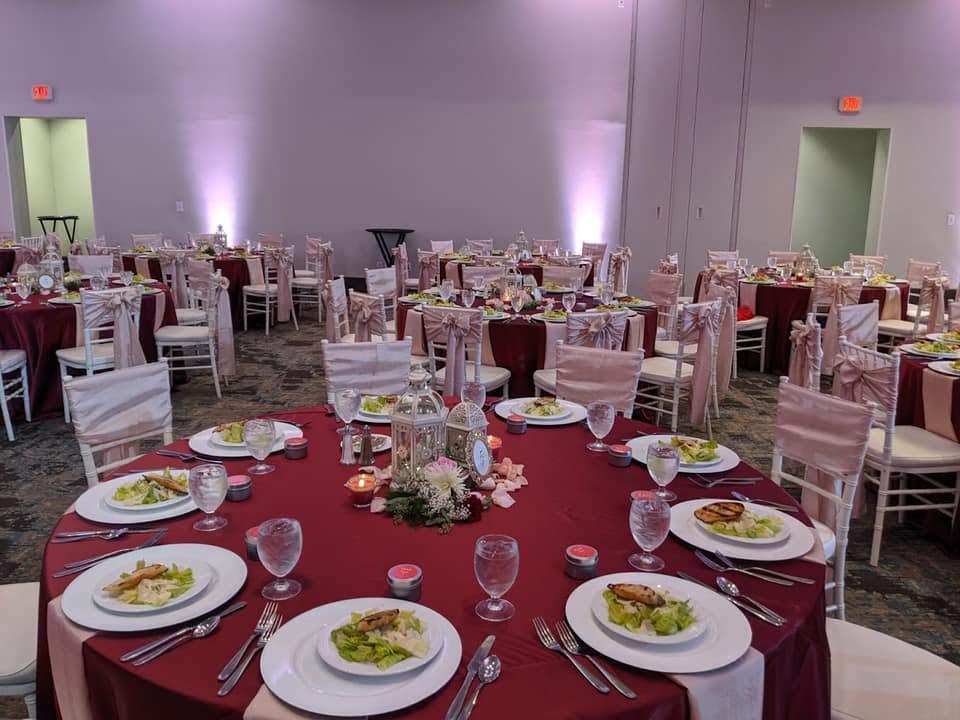 Burgundy Satin Tablecloths with Blush Crush Sashes and Napkins