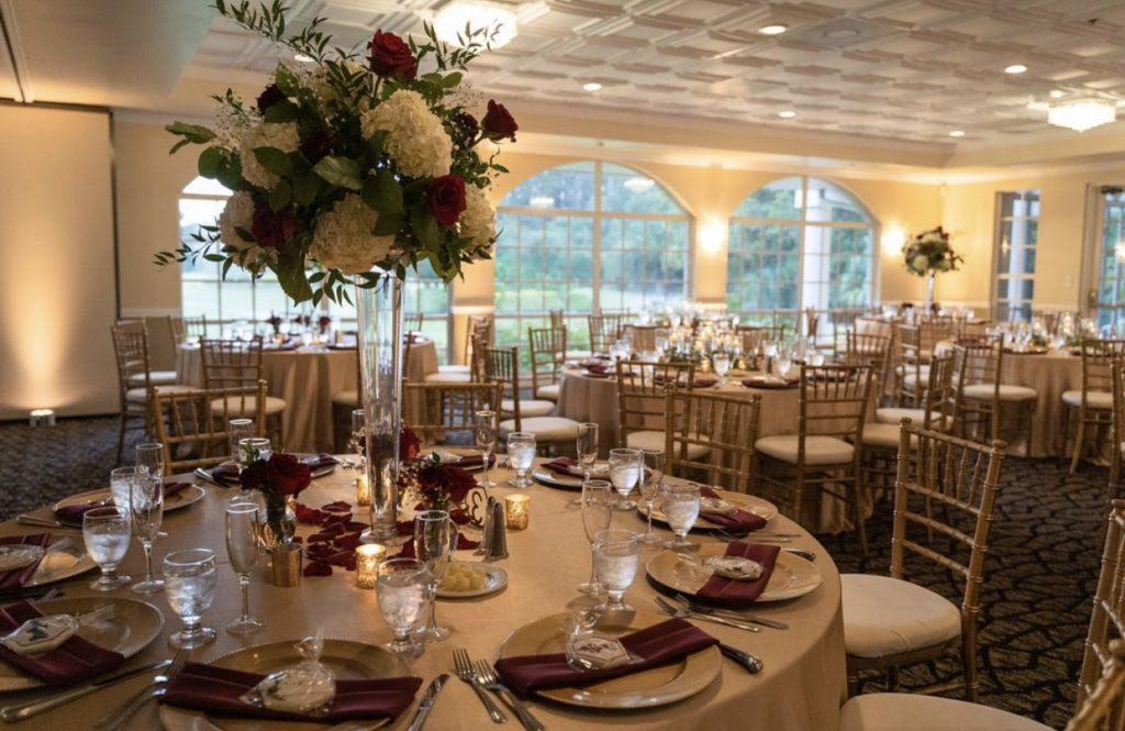Camel Majestic Tablecloths with Burgundy Satin Napkins and Gold Chargers