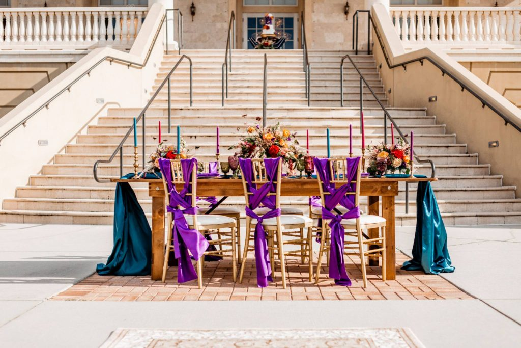 Teal and Purple Majestic Sashes and Tablecloths