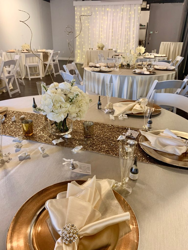 Ivory Majestic Tablecloth and Napkins w/ Gold Sequin Runners and Gold Chargers
