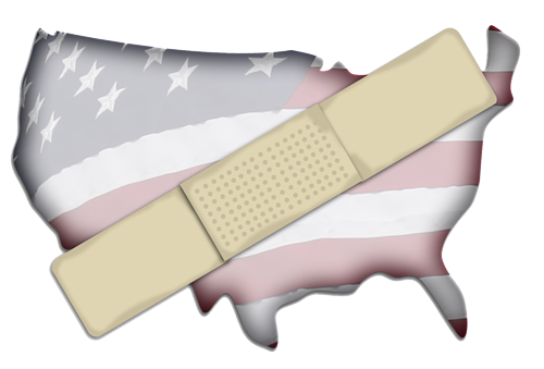 United states map with band aid