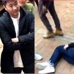 事发现场。左为刘姓学生,右图为受冲撞倒地的香港女留学生。