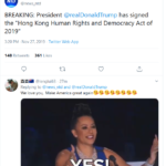 总统川普已经签署《香港人权与民主法案》
