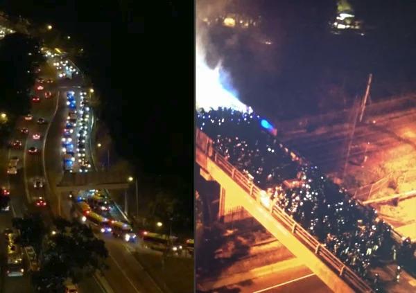 中共警察方仍增派近300人手进入中大一带(左) 在中大内逾200名防暴警察与学生对峙(