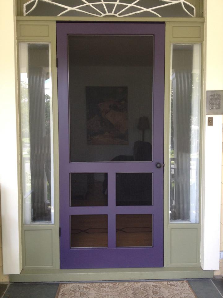 wood storm door - arts and crafts style