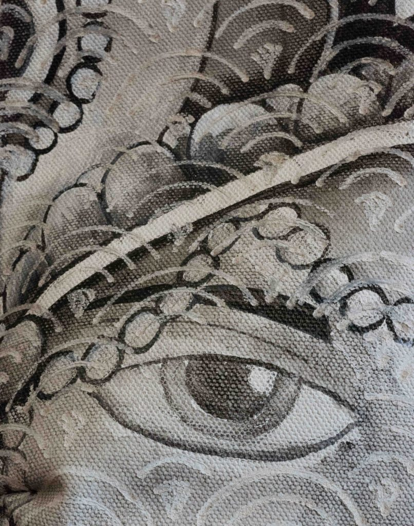 """Detail of """"Voyage, Voyage,"""" mixed media painting by Pascale Lord"""
