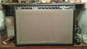 Vintage Fender Deluxe Reverb on the bench